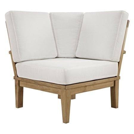 Modway Marina Outdoor Patio Teak Corner Sofa in Natural White