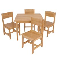 Farmhouse Wood Table and 4 Chairs Set, Multiple Colors