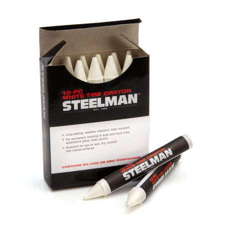 STEELMAN 00063 White Tire Marking Crayons, Box of 12
