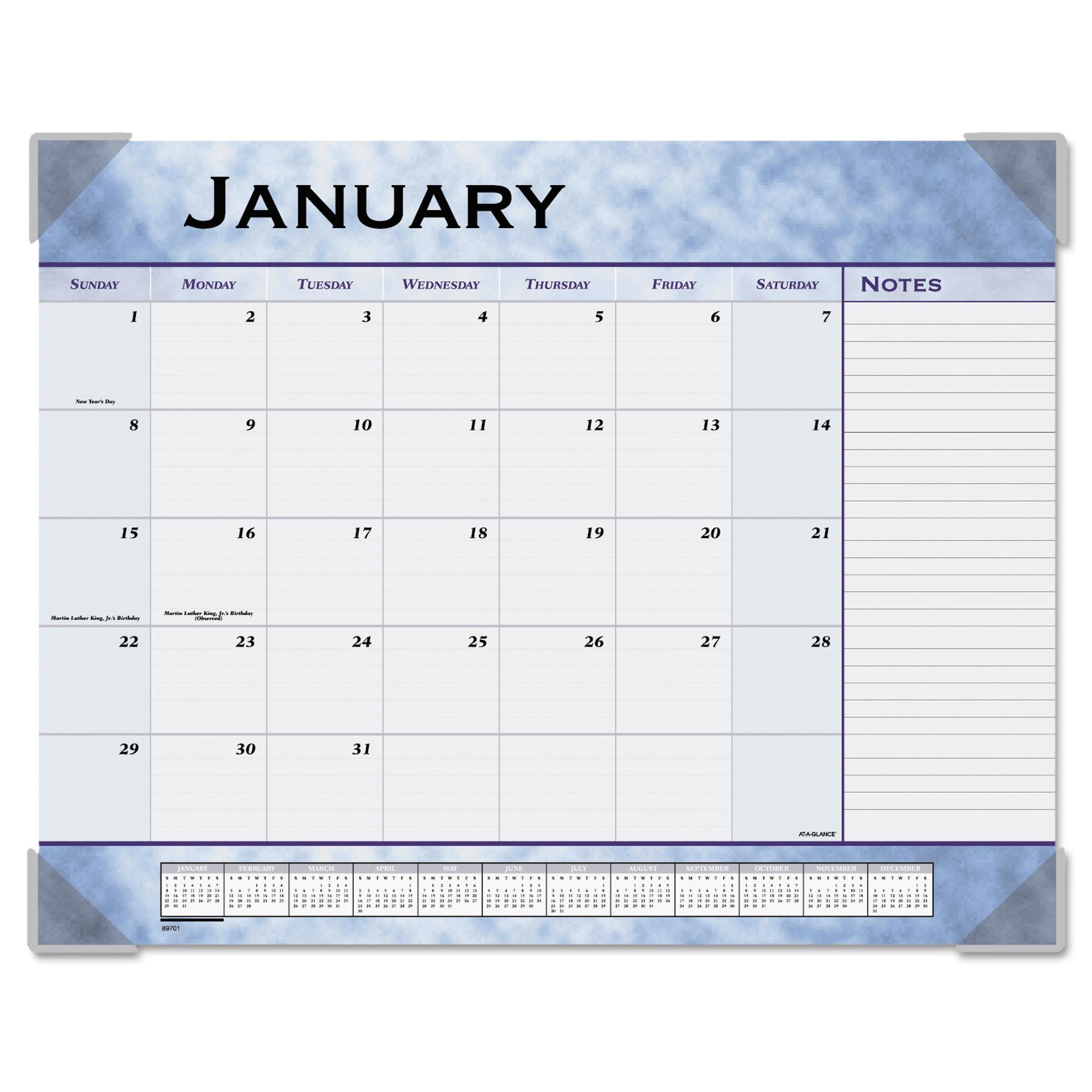 AT-A-GLANCE Slate Blue Desk Pad, 22 x 17, Slate Blue , 2018