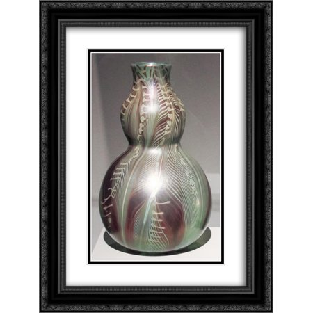 Louis Comfort Tiffany 2x Matted 18x24 Black Ornate Framed Art Print 'Double gourd-shaped vase with stylized painted leaves '
