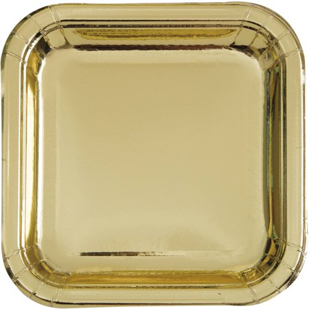 - Square Paper Plates, 9 in, Gold Foil, 8ct