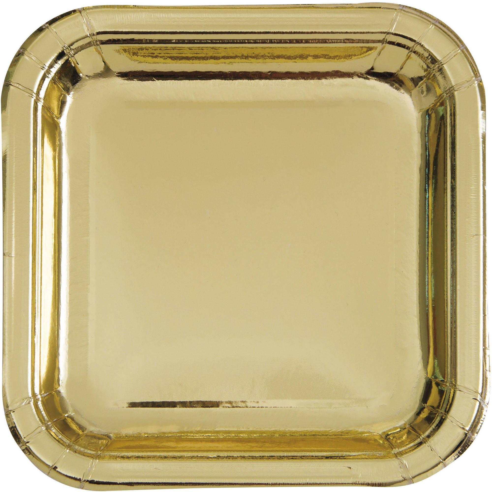 Square Paper Plates, 9 in, Gold Foil, 8ct