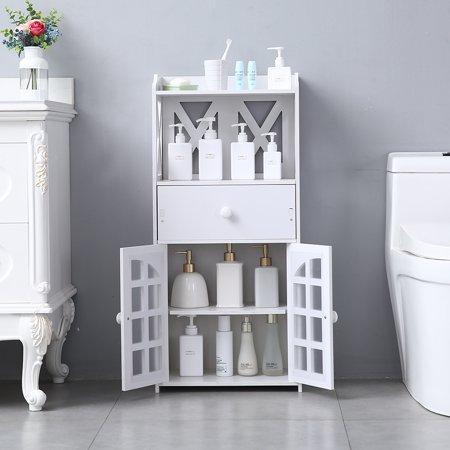 Bathroom Floor Standing Cabinet, Storage Cabinet w/ Doors, Drawer and Shelves, PVC Bathroom Organizers and Storage, Utility Storage Cabinet Shelves for Living Room, Bedroom, Kitchen, White, W3931 Glass Living Room Cabinet