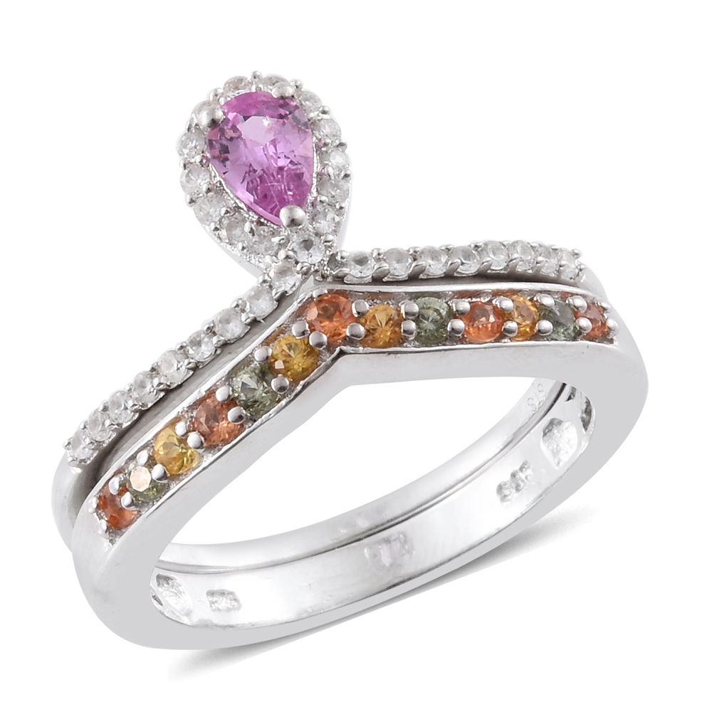 Set of 2 Pink Sapphire, Multi Sapphire, Zircon Platinum Plated Silver Drop Rings 1.06 cttw. Size 9 by Shop LC