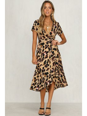 055a6d01b00 Product Image Womens Casual Leopard Short Sleeve V Neck Sexy Bandage Party Long  Beach Dresses Oversized Maxi Dress