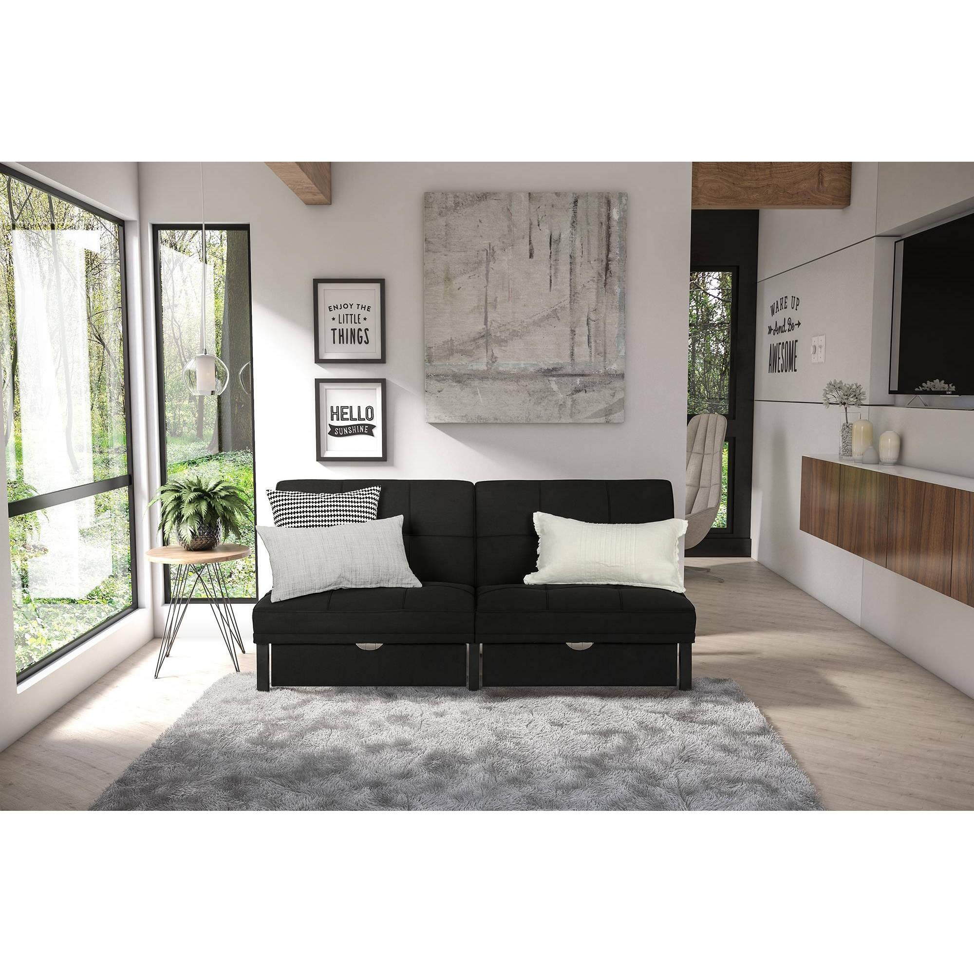 DHP Skye Storage Futon, Black Linen by Dorel Home Products