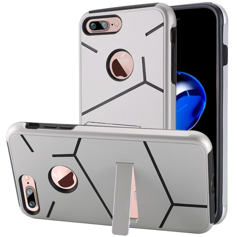 iPhone 8 Plus case, iPhone 7 Plus case, by Insten Hard Dual Layer TPU Cover Case w/stand for Apple iPhone 8 Plus / iPhone 7 Plus - Silver/Black