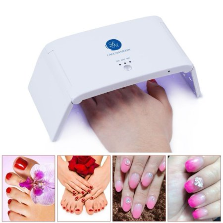 - Lagunamoon UV Gel Nail Polish Kit Pearl White 6W LED Lamp w/ Base Top Coat Soak OFF Manicure