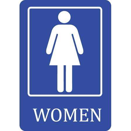 Women bathroom blue sign public restroom signs for Ladies bathroom sign