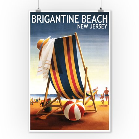 Brigantine Beach, New Jersey - Beach Chair and Ball - Lantern Press Poster (9x12 Art Print, Wall Decor Travel Poster)