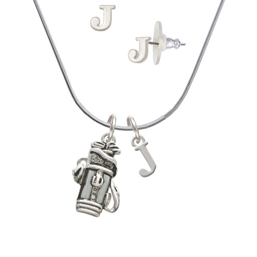 Golf Club Bag J Initial Charm Necklace and Stud Earrings Jewelry Set by Delight and Co.