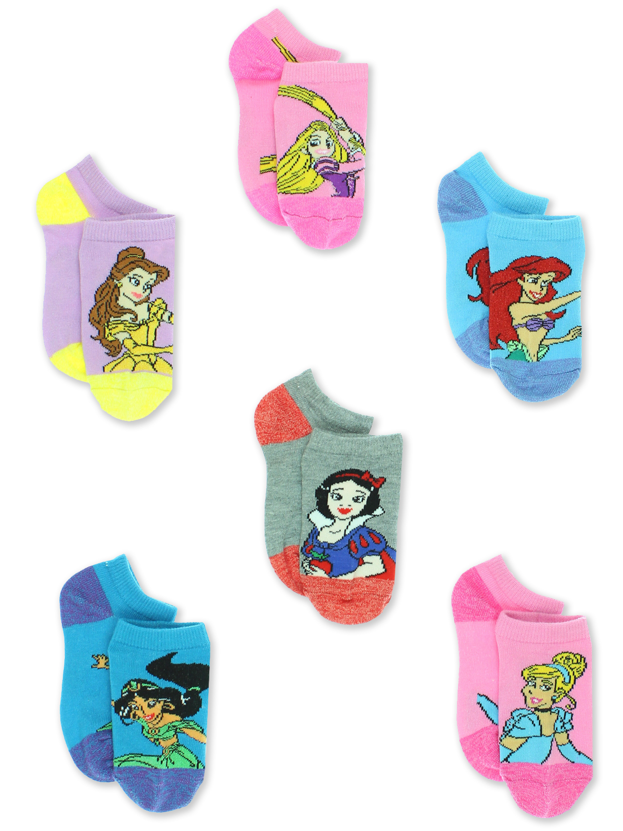 Disney Princess Girls Toddler 6 Pack No Show Socks Set DP237GNS