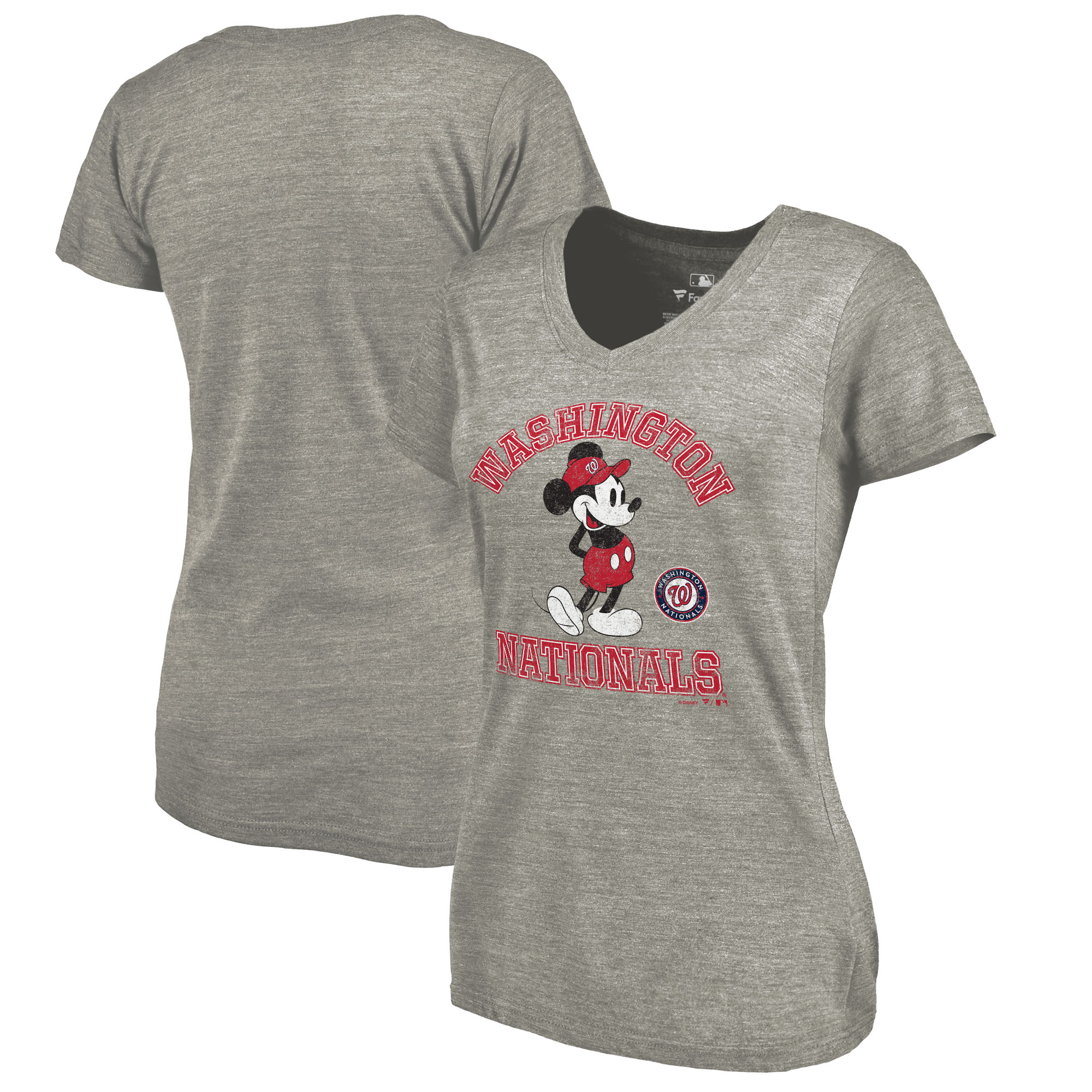 Washington Nationals Fanatics Branded Women's Disney MLB Tradition Tri-Blend V-Neck T-Shirt - Heathered Gray