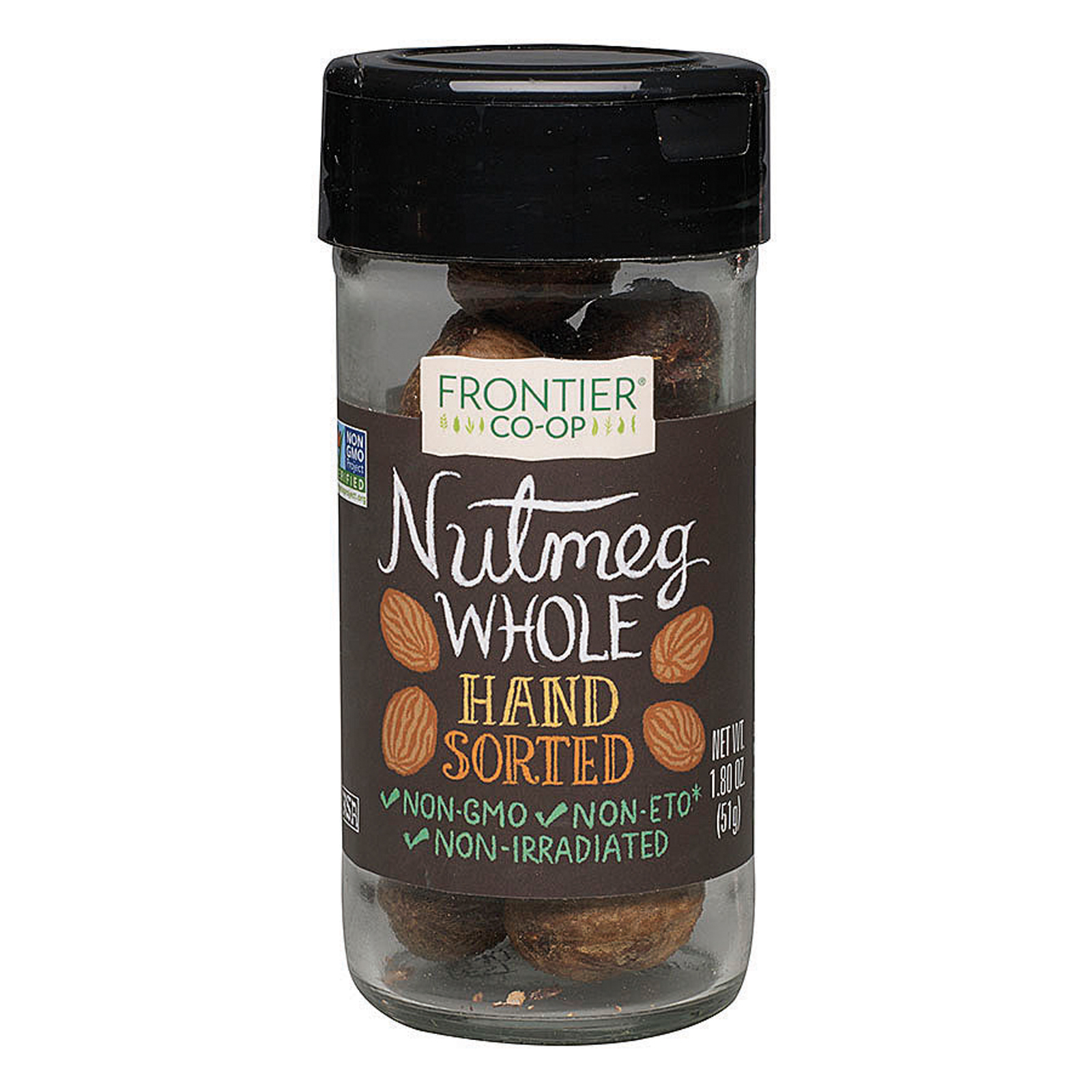 Frontier Herb Nutmeg Whole Hand Sorted Case of 12 1.8 oz. by
