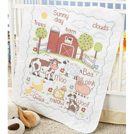Herrschners® Pre-Quilted Barnyard Baby Quilt Stamped Cross-Stitch Kit