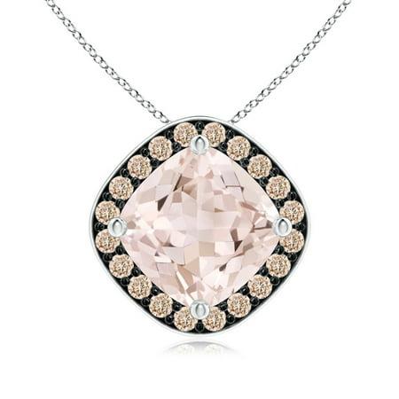 Sideways Cushion Morganite Halo Pendant with Coffee Diamonds in Platinum (7mm Morganite) - SP0847MGBRD-PT-A-7