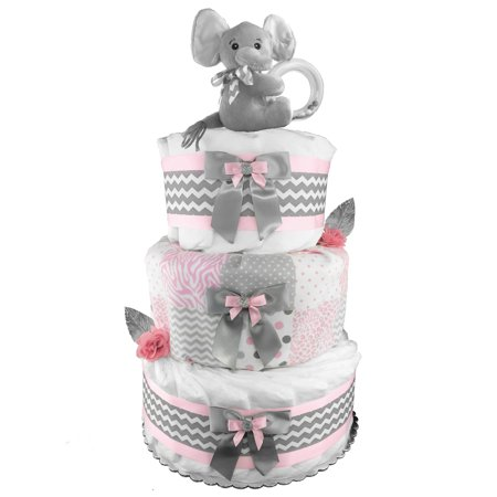Pink and Gray 3-Tier Elephant Diaper Cake - Baby Shower Centerpiece - Newborn Gift for a Girl