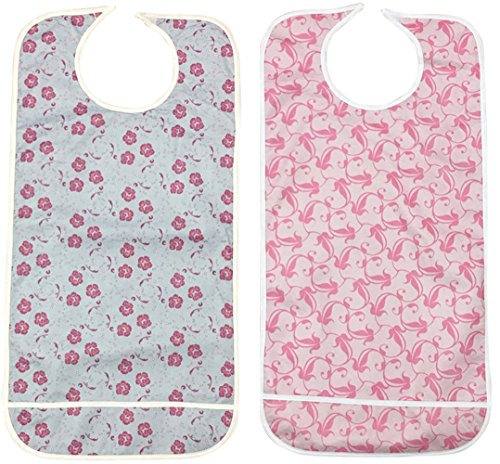 Personal Touch Ladies Adult Bib With Crumb Catcher Velcro Closure Size 18x36 (Pack of 2)