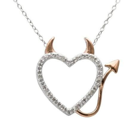 18k Rose Gold over Silver 1/10ct TDW Diamond Heart Necklace (J-K, I3)
