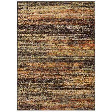 Sphinx Atlas Area Rugs - 8037C Contemporary Gold Oranges Faded Striped Rows Rug