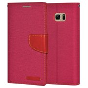Premium Pink Canvas Pocket Wallet Credit Card Holder Flip Case Folio Cover for Samsung GALAXY Note7 N930 with Detachable Cell Phone Neck Lanyard