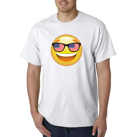 Trendy USA 474 - Unisex T-Shirt Emoji Smiley Face USA American Flag Sunglasses 4th July 3XL (Orange And White Sunglasses)