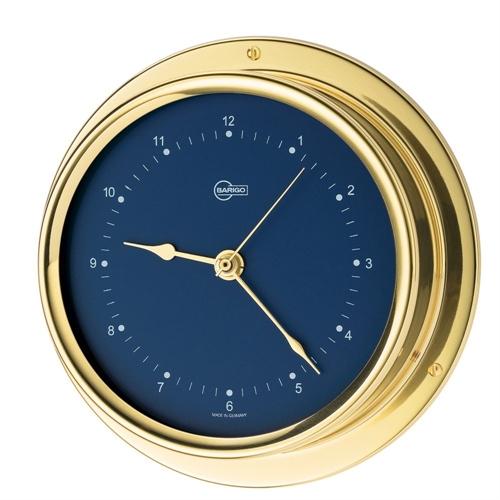 """Barigo Quartz Clock 4"""" Dial Brass Housing Blue Dial 684MSBL"""