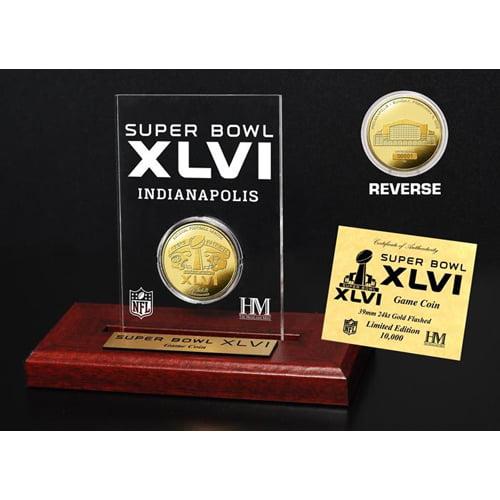 Highland Mint Super Bowl XLVI 24KT Gold Flip Coin Desk To...