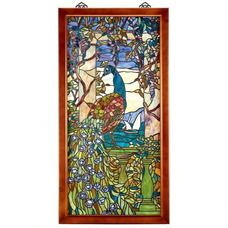 Peacock & Wisteria Tiffany-Style Stained Glass Window Peacock Stained Glass Pattern