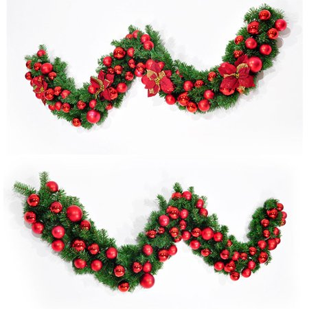 27m christmas garland green with redgold bows lights ornaments christmas decorations for home decorations christmas ornaments - Christmas Decorations Walmart