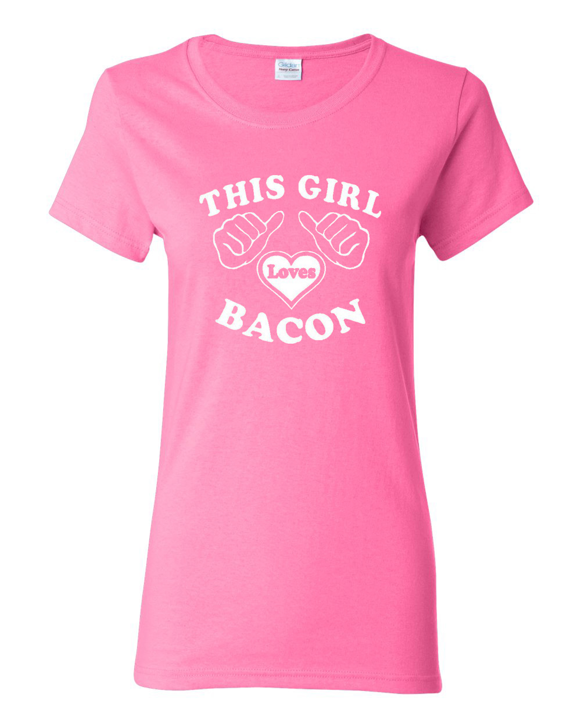 Ladies This Girl Loves Bacon T-Shirt Tee