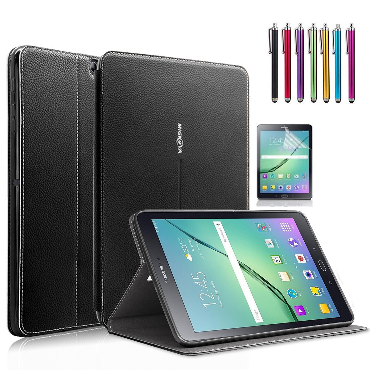 Samsung Galaxy Tab S2 8.0 Case, Mignova - Auto Sleep /Wake, Card Pocket, KickStand Feature, Premium PU Leather Folio Smart Cover Case + Screen Protector Film and stylus pen (Black)