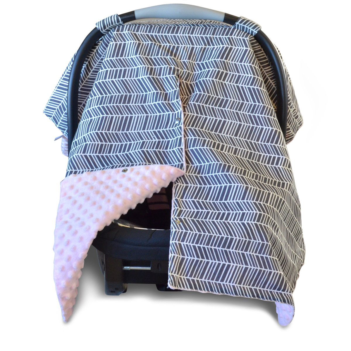 Kids N' Such 2 in 1 Car Seat Canopy Cover with Peekaboo Opening™ - Large Herringbone Carseat Cover with Soft Pink Dot Minky | Best for Baby Girls | Doubles as a Nursing Cover for Breastfeeding