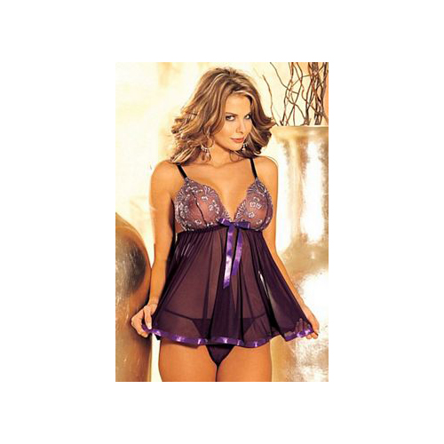 Shirley of Hollywood Sequin & Sheer Net Babydoll & G-String 96121 Red