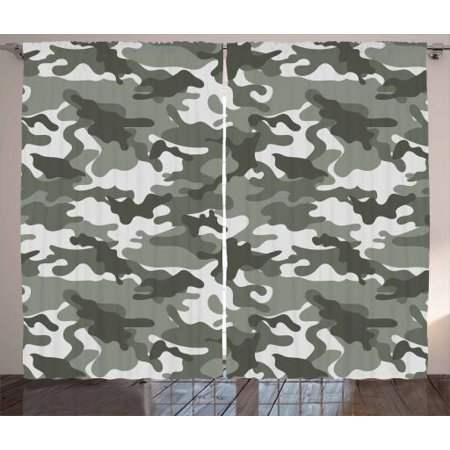 Camouflage Curtains 2 Panels Set, Monochrome Army Attire Pattern Camouflage inside Vegetation Military Equipment, Window Drapes for Living Room Bedroom, 108W X 96L Inches, Grey Coconut, by