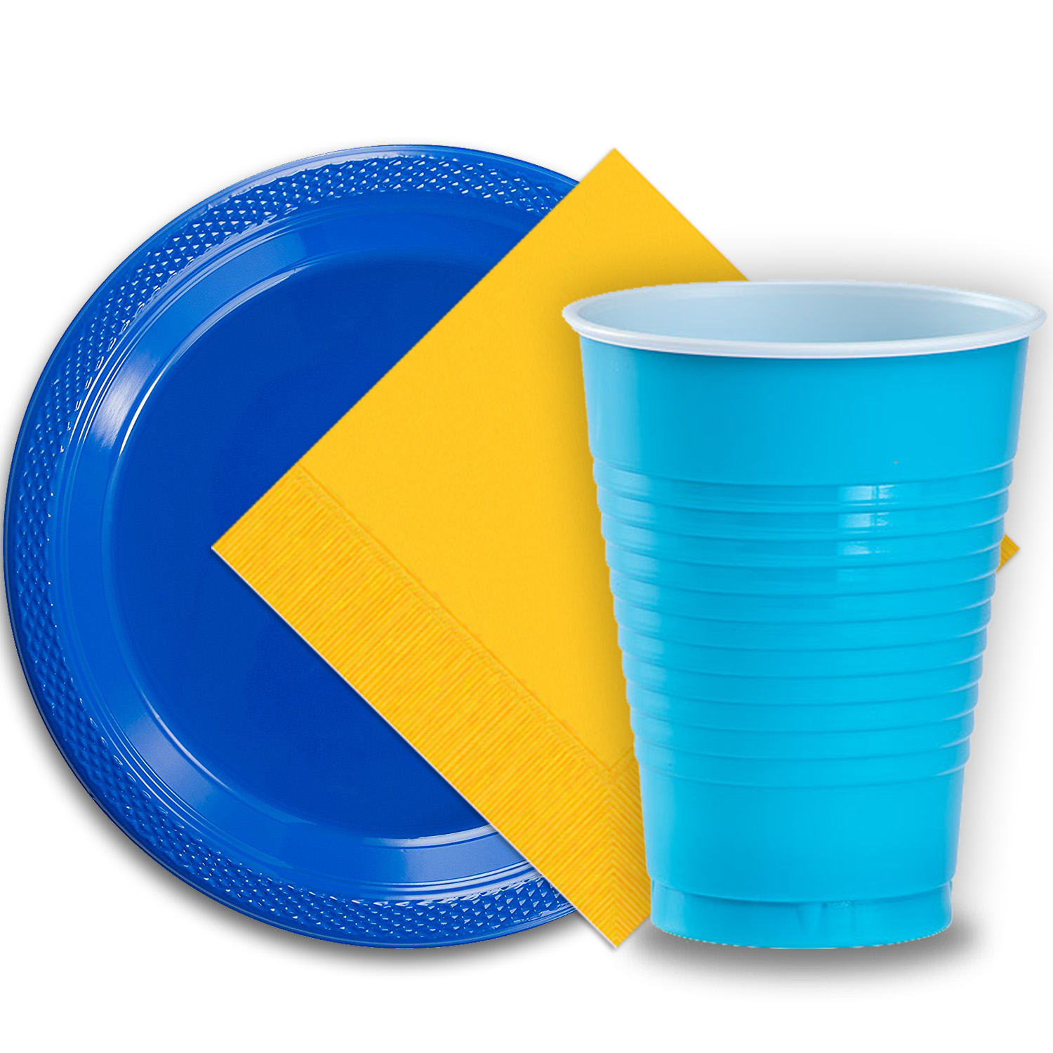 """50 Dark Blue Plastic Plates (9""""), 50 Aqua Plastic Cups (12 oz.), and 50 Yellow Paper Napkins, Dazzelling Colored Disposable Party Supplies Tableware Set for Fifty Guests."""