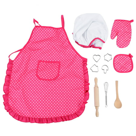 Kids Holiday Apron Set - HURRISE Children Chef DIY Cooking Baking Suit Toys Set w/ Clothes Apron Gloves Hat Cooker Cake Mold Spoon For Kids Girls Boys Birthday Holiday Gift