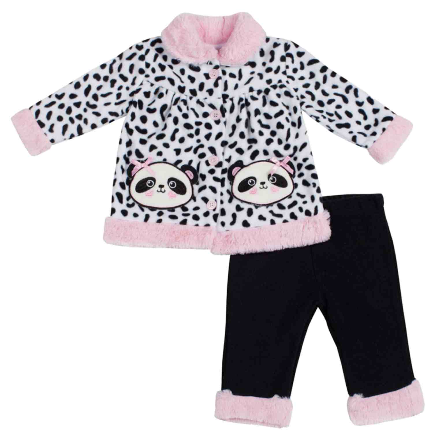 Little Lass Infant Girls 2 Piece Panda Bear Faux Fur Fleece Jacket & Pants