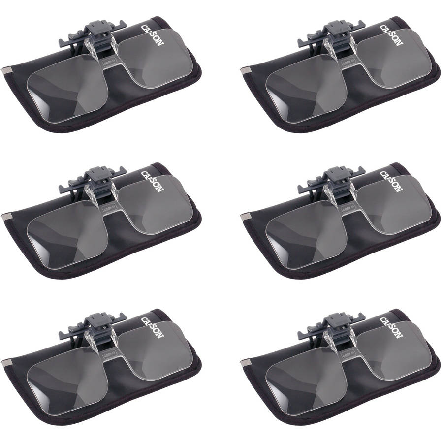 6pk Carson CF-10 1.5x Clip-On, Flip-Up Magnifying Lenses For Eyeglasses