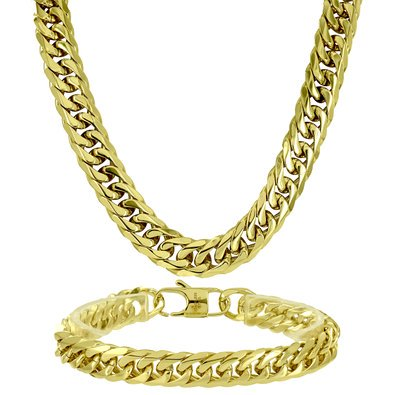Miami Cuban Chain Free Bracelet Necklace Set 14k Gold Finish Elegant Mens - 4376