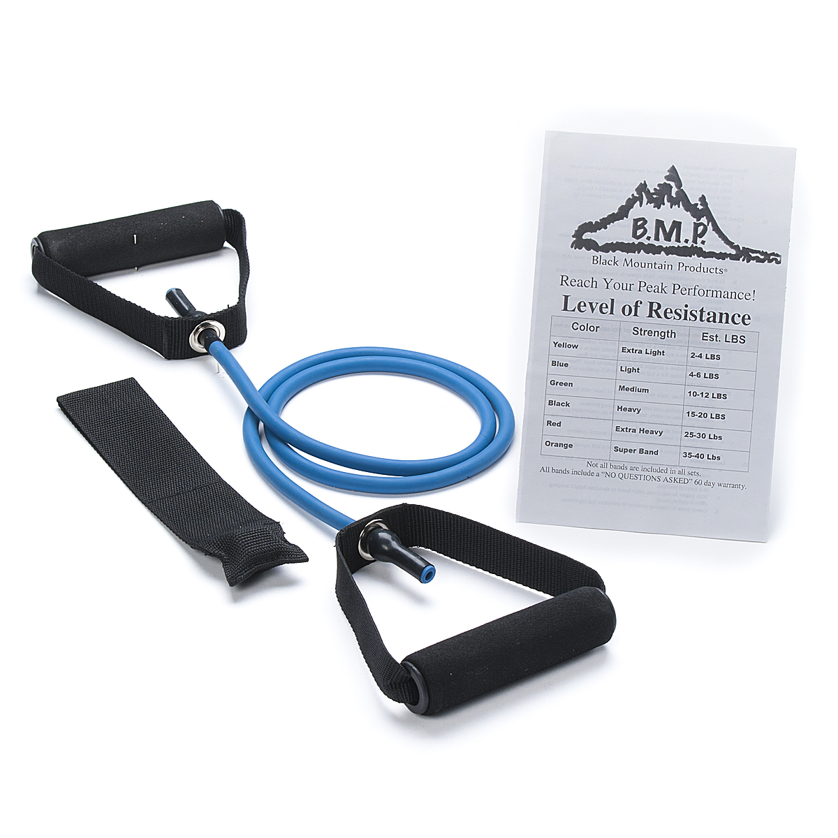 Black Mountain Products Single Resistance Band with Door Anchor and Starter Guide Included, Blue