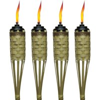 """TIKI Brand 57"""" Barbados Bamboo Torch with Easy-Pour System, Natural, Pack of 4"""
