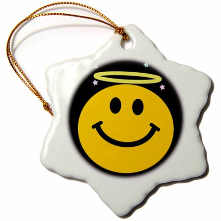 - 3dRose Angel smiley face on black angelic yellow happy smilie with halo - smiling smile sweet innocent good - Snowflake Ornament, 3-inch