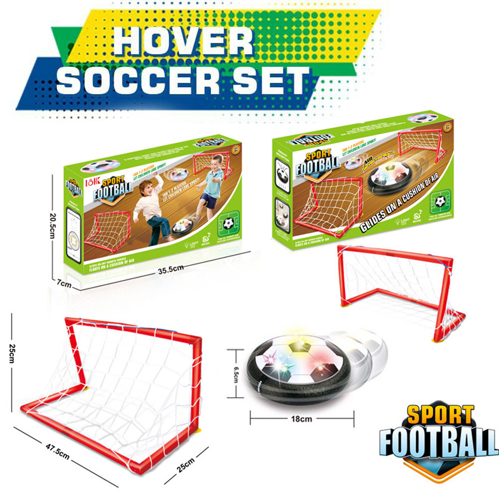 Binmer LED Air Power Training Ball Soccer Football Goal Set Hover Ball With 2 Gates by
