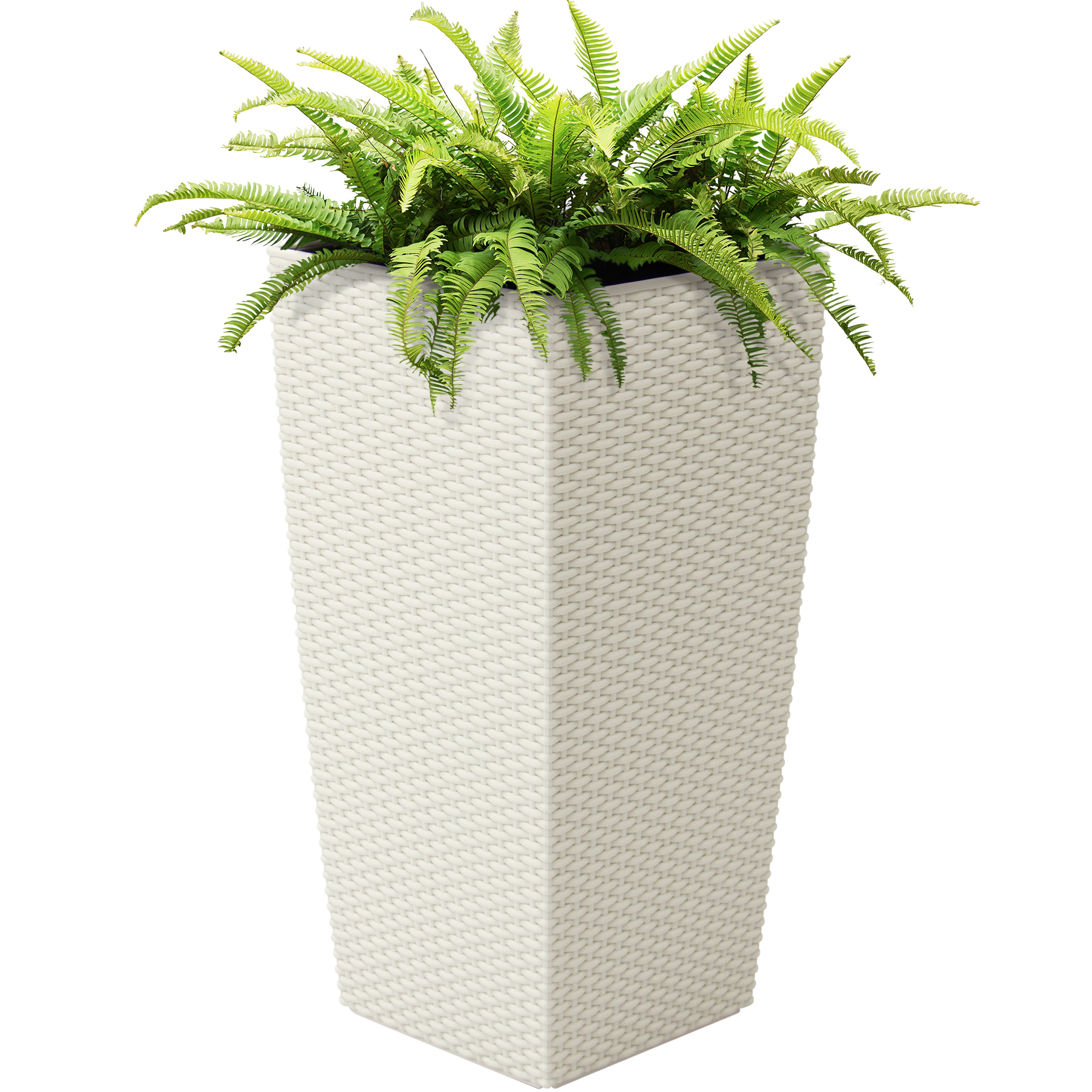 Best Choice Products Self Watering Wicker Planter w/ Water Level Indicator, Rolling Wheels for Indoor, Outdoor - White