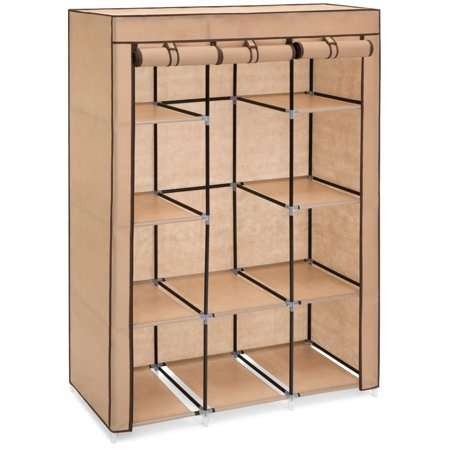 Best Choice Products 10-Shelf Fabric Portable Closet Wardrobe Clothes Storage Rack Organizer with Cover,