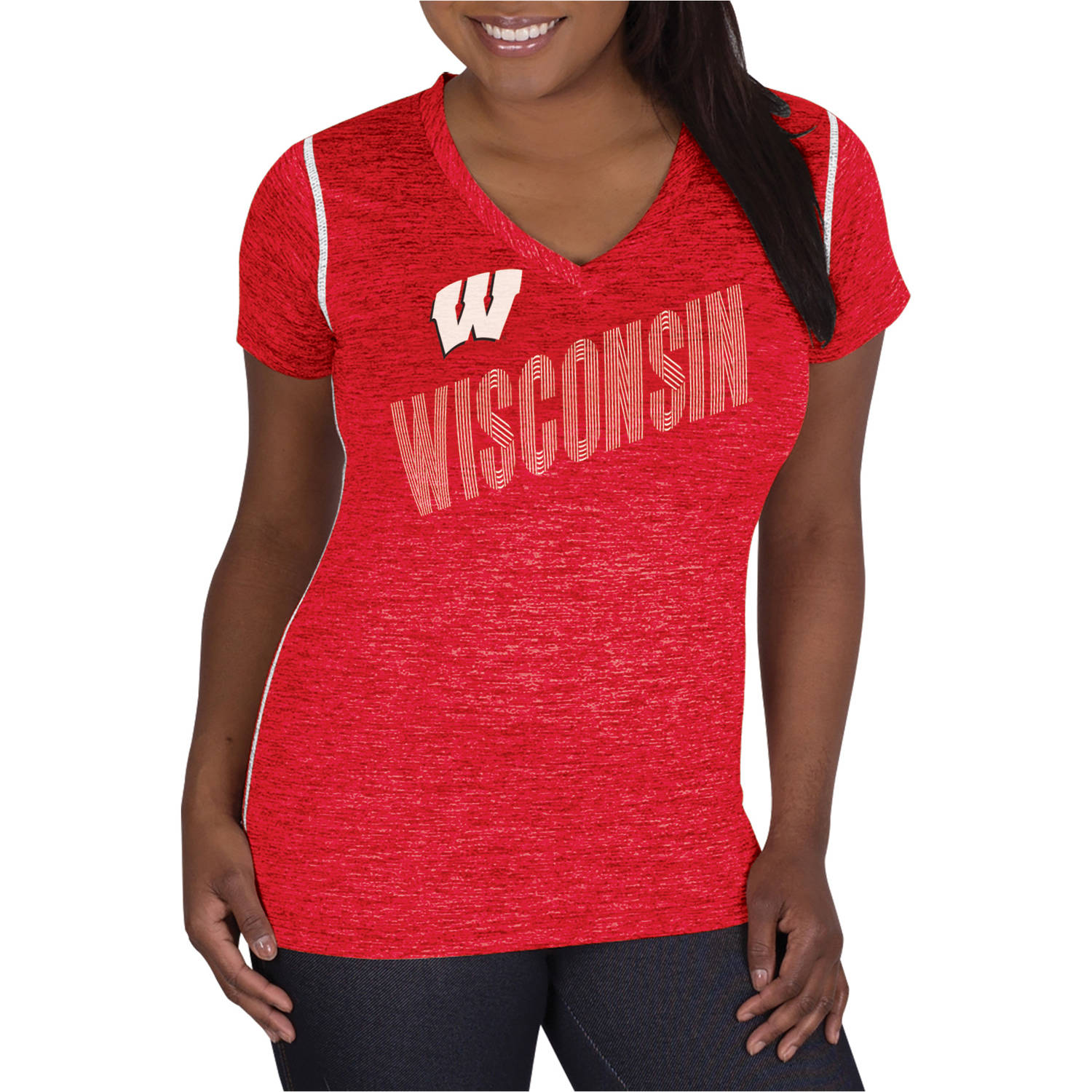 NCAA Wisconsin Badgers Ladies Classic-Fit Synthetic V-Neck Tee