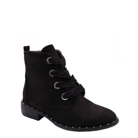 Blue Womens Low Heel Ankle High Lace Up Side Zip Fashion Winter Fall Boots 2018 Holidays Collection - Vivi-3 Size -006 BLACK
