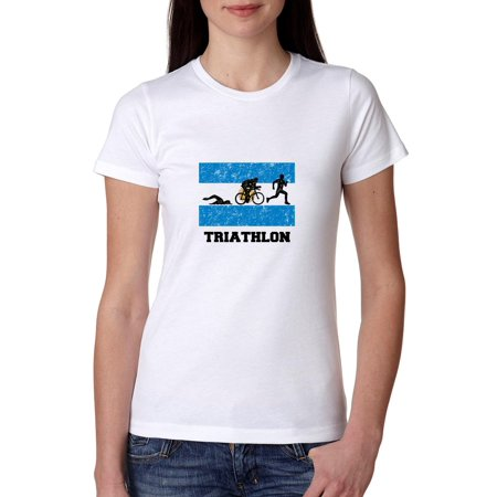 Argentina Olympic - Triathlon - Flag - Silhouette Women's Cotton (Triathlon Tops Women)